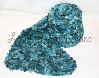 Petroleum-colored chenille scarf