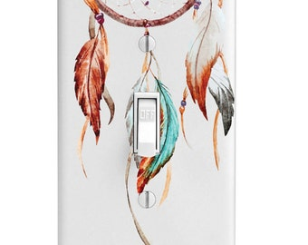 Home Decor Light Switch Cover-Watercolor Dream Catcher-Housewarming-Lighting-Wall Decor-Kitchen Decor-Bathroom Decor-Double Light Switch