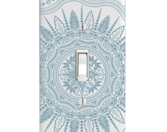Home Decor Light Switch Cover-Baby Blue Solid Mandala-Housewarming-Lighting-Wall Decor-Baby's Room-Single Light Switch-Double Light Switch