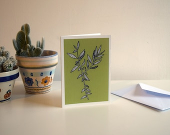 Vibrant Green Olive Leaves - A6 Botanical Illustration Greeting Card