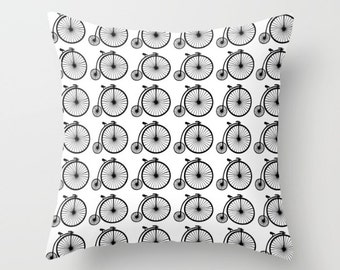 16x16 18x18 20x20 Decorative Pillow Cover: Vintage Bicycle, Modern, Minimalist, Pattern, Black and White, Quote, Throw Pillow, Cushion