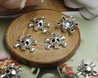 20PCS,14*16mm,Silver Skull Charm, Metal Skull Pendant--p1027-B