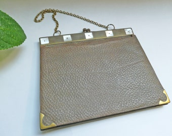 Vintage brass, mother-of-pearl and leather handbag Art Deco made in 30ies.