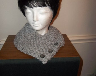 Crochet Cowl: Crochet Button Down Cowl