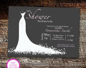 Wedding Dress - Bridal Shower Invitation
