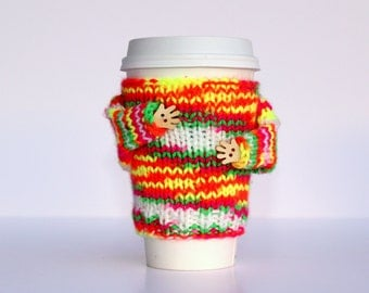Cup sleeve. Travel mug cozy. Coffee cozy. Neon colors. Yellow orange pink. Valentine's gift Mug sweater. Teen girl gift. Mug hug cozy