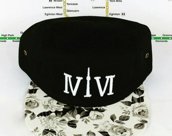 """Fresh B&W Floral 416 5 PANEL Hats! The Roman numerals stand for """"416"""", with the """"1"""" resembling the CN Tower GTA, yyz, ovo, The Weeknd, T Dot"""
