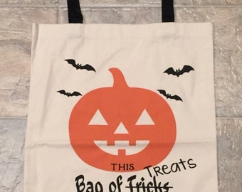 Personalized Cotton Canvas Black Handle Halloween Trick or Treat Bag, Jack O' Lantern
