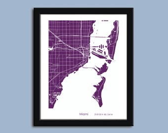 Miami map, Miami city art map, Miami wall art poster, Miami decorative map