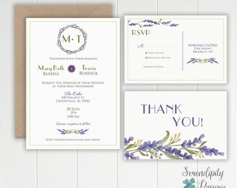 Lavender Rustic Wedding Invitation Set Printable