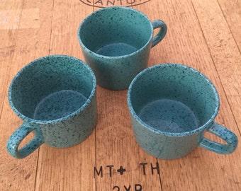 Turquoise Blue Japan Stoneware Mugs, turquoise confetti mugs, blue polka dot mugs