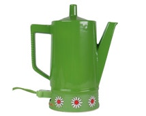 Mid Century Tea Kettle / Vintage Electric Tea Kettle / Lime Green Tea Maker with Daisy Design Japan