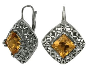Sterling Silver Earrings Citrine Earrings Filigree Earrings With 7mm Citrines