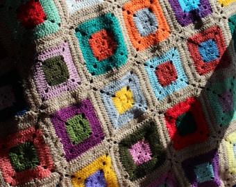 handmade 100% wool handmade crochet crochet Afghan blanket quilt double bed