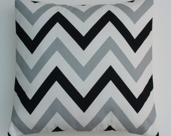"Large Chevron ZigZag Black, Grey and White Geometric Cushion Cover 16"" / 40cm"