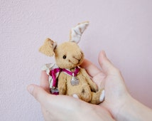"SALE!!! Teddy Bear style Rabbit Artist German viscose 5.5 "" Tim"" inch handmade OOAK collectible jointed Teddy Bear toy"