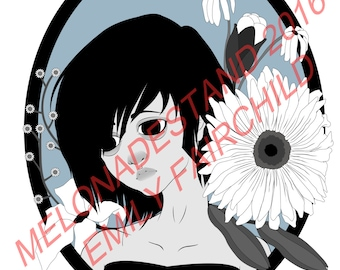 """Floral Girl Monochrome 8""""x6"""" Glossy OR Matte Print"""