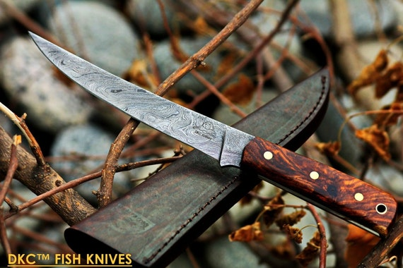 "DKC-611 SALT POINT Fishing Filet Knife Damascus Blade Hunting Handmade Knife Fixed Blade 4.9 oz 10"" Long 6"" Blade"