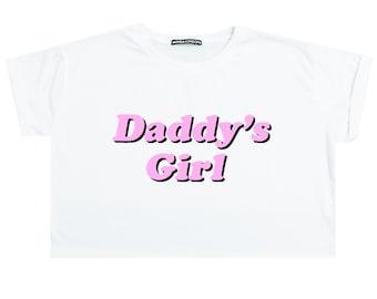 DADDY girl CROP TOP t shirt tee womens girl funny tumblr hipster grunge goth retro 90s fashion festival barbie kawaii cute japanese harajuku
