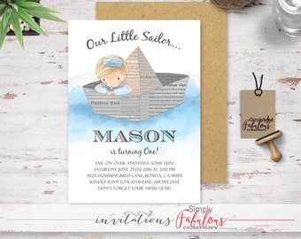 Little Sailor First Birthday Invitation - Little Sailor Baby Shower Invitation - Blue Little Boy Paper Sailboat Invitation DIGITAL FILE