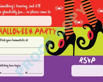 HALLOWEEN WITCHES FEET Invitation kids party invites