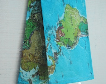 MOTHER'S DAY GIFTS, Linen Tea Towel - Vintage World Map, Made to Order
