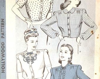 Hollywood 1555 Vintage 1930s Blouse Pattern Size 16
