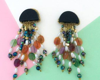 Vintage Handmade Multicolor Chandelier Clip On Earrings (1980s)