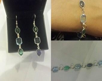 Green and blue jewellery set, jewellery, gift set , bracelet, earings, accssessory,