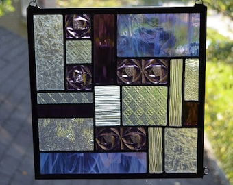 Leaded stained glass panel purple and clear 10 x 10