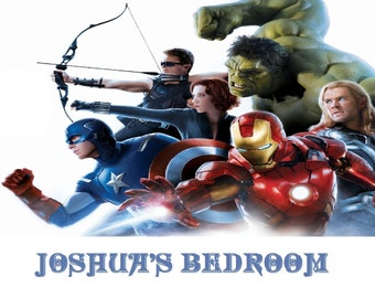 Marvel Avengers Personalized Children's Wall -Door Hanging Metal Sign-Plague-Hulk-Captain America-Thor-Iron Man-Sublimation Signs.