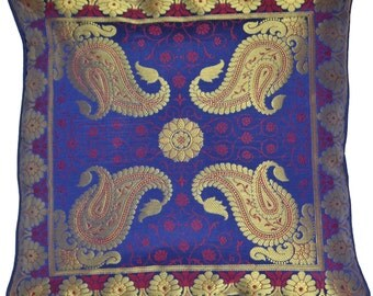 "Navy Golden Paisley Banarasi Cushion Covers 16"" x 16"""