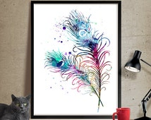 Peacock Feathers Watercolor Art, Feather Print, Watercolor Painting, Watercolor Art Poster, Feather