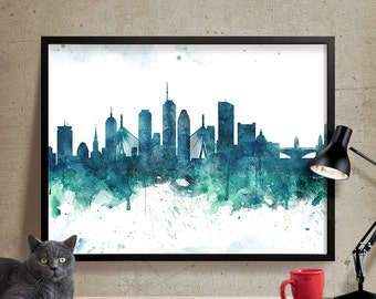 Boston Watercolor Skyline Wall Art Print   Boston Watercolor Art   Abstract  Watercolor Painting, Boston