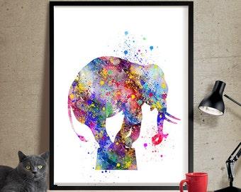 Elephant Art Print, Elephant Decor, Elephant Watercolor Art, Elephants, Elephant Wall Decor, Elephant Figurine, Elephant Nursery (89)