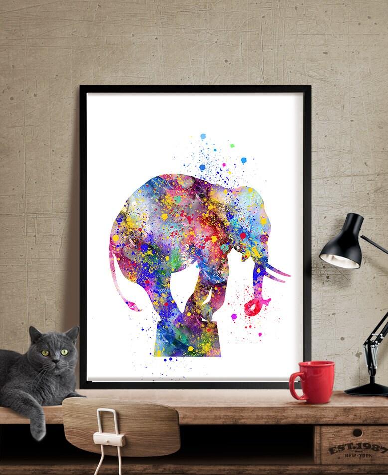 Elephant Art Print Elephant Decor Elephant Watercolor Art