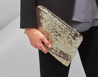 Personalised Sequin Pouch. Engraved charm. Black sequin clutch. Gold sequin clutch. Personalized clutch bag. Ladies clutch.