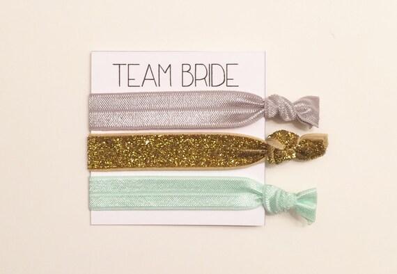 Bridesmaid hair tie favor//team bride mint grey & thick gold//hair tie card//party favor//elastic hair ties