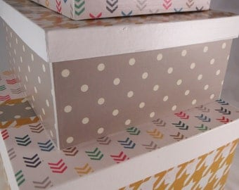 SALE Price! Set of 3 Boxes, Decorative Stacking / Nesting Boxes, Houndstooth and Chevron Office, Cute Home Storage, Yellow and Gray