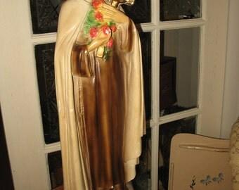 "Large Statue plaster Chalkware St Therese 24.5 ""beautiful piece."