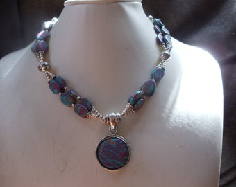 Mosaic agate / agate statement Neclaces vintage ethnic
