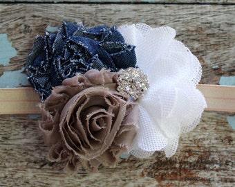 Denim burlap baby headband, Shabby chic baby bow, fall headband