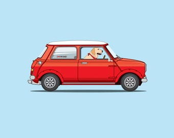 Labrador retriever dog driving a red mini - 'Oscar' is perfect for nursery or children's room or as a gift for someone who loves their Lab!