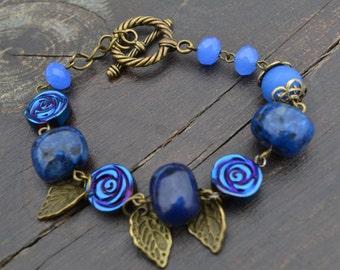 Blue bracelet with roses and leaves-Charms Bracelet- Stone Bracelet