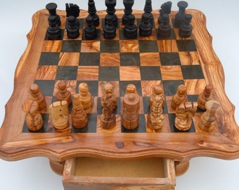 SALE Handmade olive wood chess set,US seller, Finished edge,Free shipping,Great Gift
