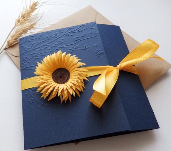 Handmade Wedding Invitations: Sunflower Handmade Wedding Invitation/Country