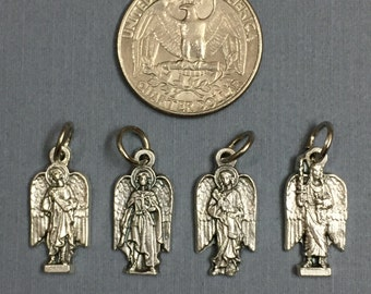 Set of 4 Archangels Michael Gabriel Uriel Raphael Silver Tone Protection Italian Medal Pendant Bracelet Charm Made in Italy
