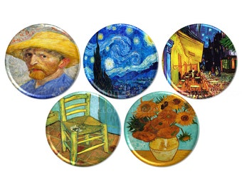 Van Gogh Paintings Pinback Buttons, Starry Night, Sunflowers, Self Portrait, Chair, Cafe Terrace - BB1913