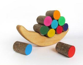Gift for baby - Wooden Balancing Game - Rainbow stacking game - Wood toy - Balancer Game - Montessori - Handmade - Waldorf toy