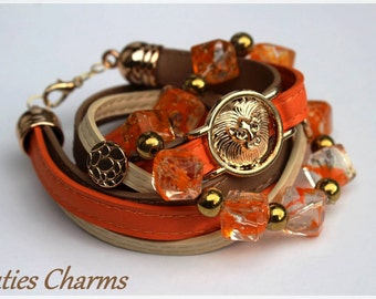 lion leather beads bracelet